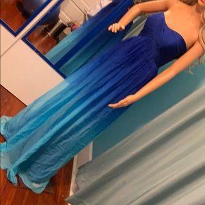 La Femme Formal dress gown Ombré Blue Size 12